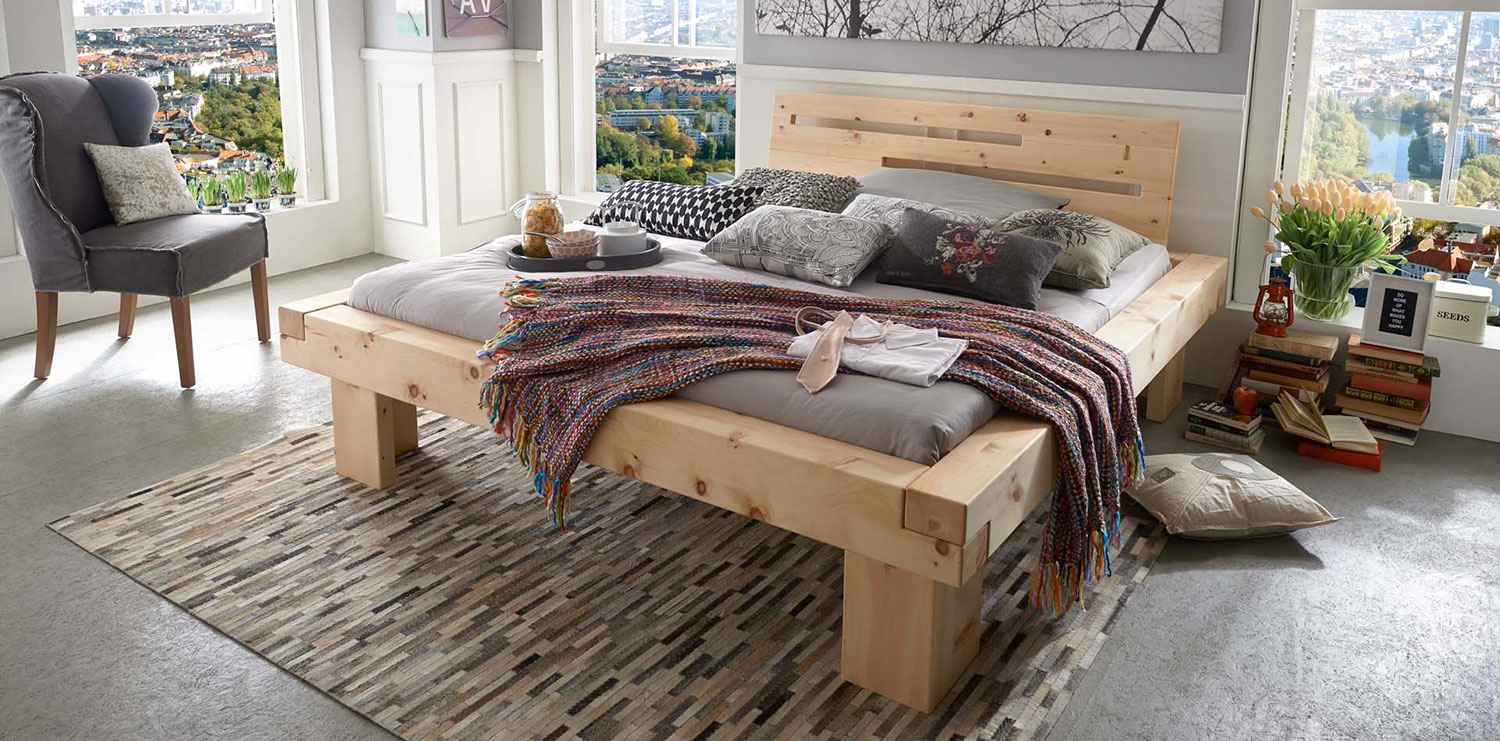 Solid wood bed MONTE, asymmetrical bedhead, arolla pine