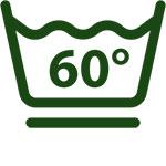 Bei 60°C schonend waschen (schonendes Schleudern)